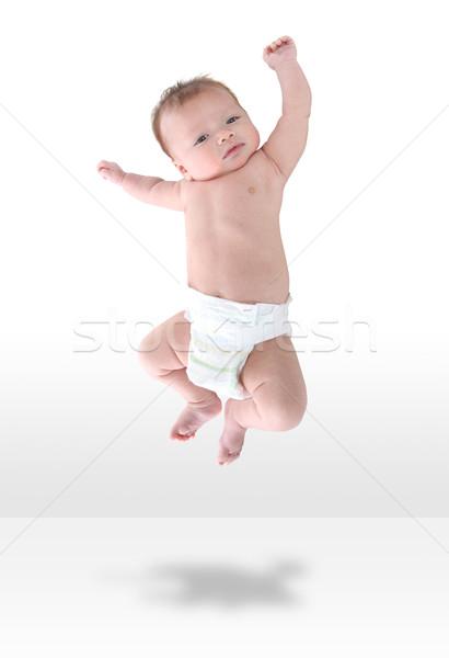 Stockfoto: Gelukkig · baby · vreugde · jonge · zuigeling · springen