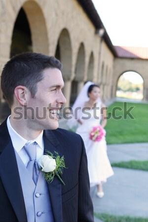 невеста жених свадьба красивой красивый Церкви Сток-фото © nruboc