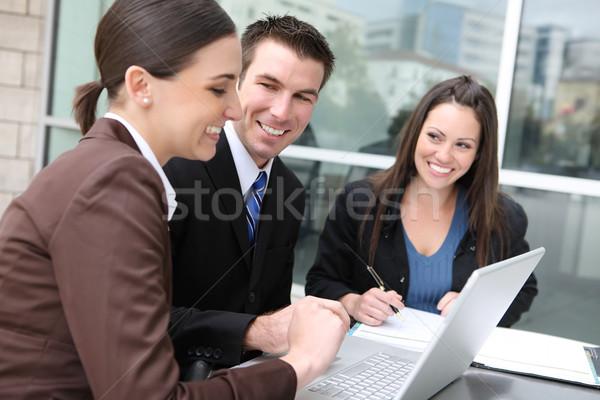男 女性 ビジネスチーム 民族 オフィスビル ラップトップコンピュータ ストックフォト © nruboc