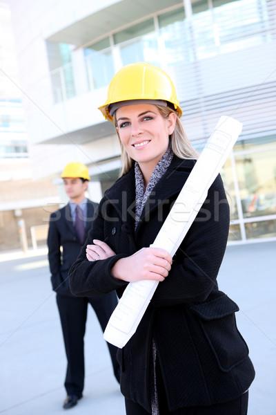 ストックフォト: ビジネス · 建設 · 女性 · 魅力的な · ビジネスチーム · 作業