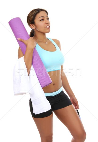 Pretty woman pronto esercizio bella african american donna Foto d'archivio © nruboc
