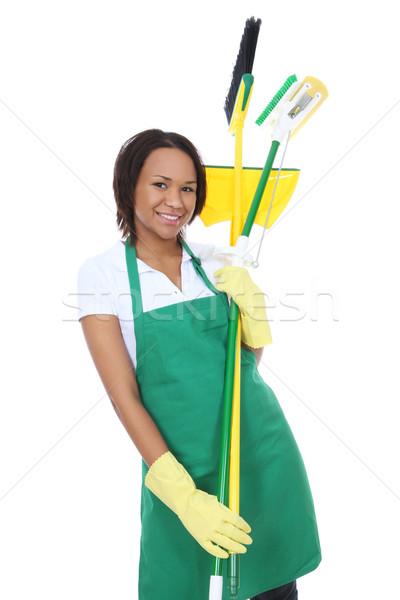 Afrika kadın hizmetçi güzel kadın temizleyici Stok fotoğraf © nruboc