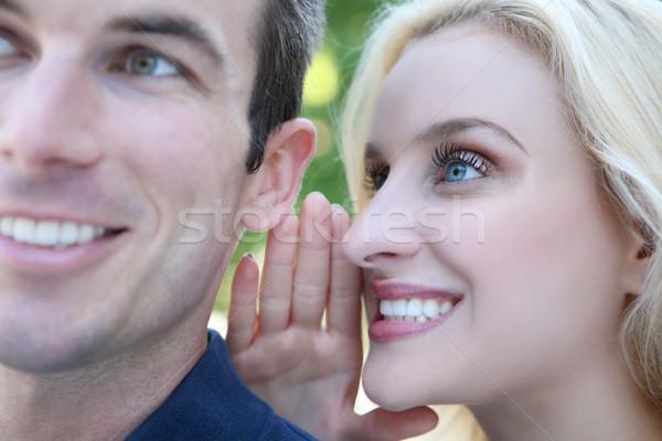 çift sırları genç kadın sevmek gülümseme Stok fotoğraf © nruboc