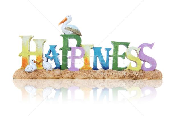 Glück Zeichen Strandsand Vögel glücklich Vogel Stock foto © nruboc