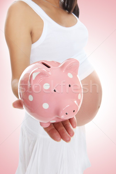 Pregnant Woman and Piggy Bank Stock photo © nruboc