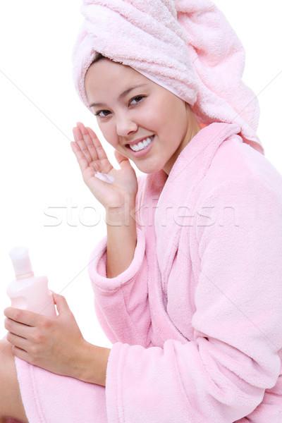 Naturalmente bela mulher não make-up loção chuveiro Foto stock © nruboc