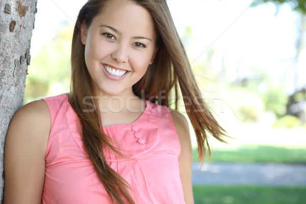 Pretty woman felice parco giovani bella femminile Foto d'archivio © nruboc