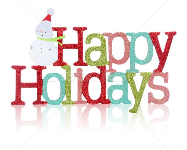 Glücklich Feiertage Zeichen farbenreich Schneemann weiß Stock foto © nruboc