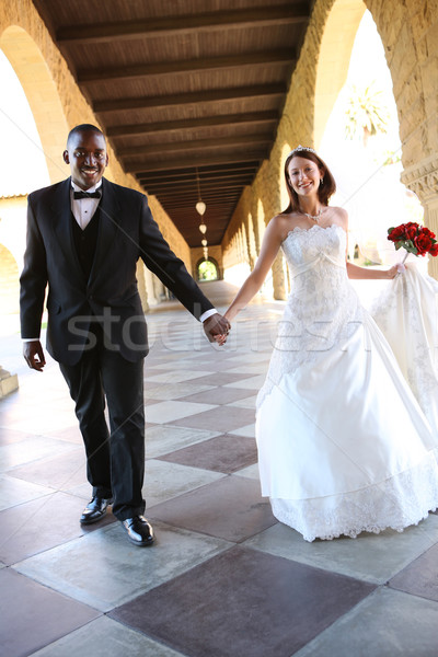 Attractive Interracial Wedding Couple Stock photo © nruboc