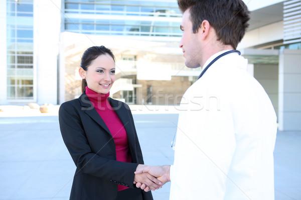 医師 患者 ハンドシェーク 男 女性 握手 ストックフォト © nruboc
