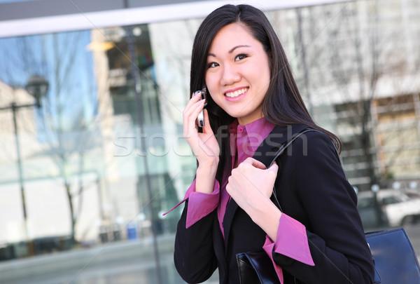 азиатских деловой женщины телефон молодые довольно женщину Сток-фото © nruboc
