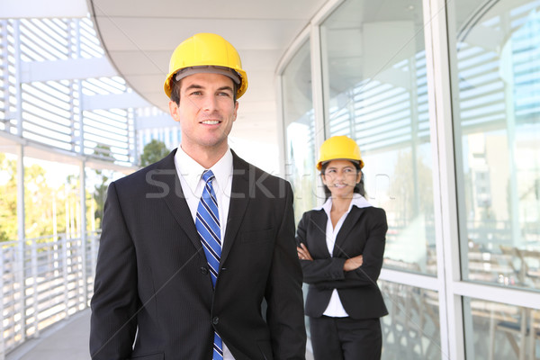 Bouw architect team mooie vrouw knappe man gebouw Stockfoto © nruboc