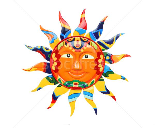 Lebendige farbenreich Sonne abstrakten isoliert weiß Stock foto © nruboc