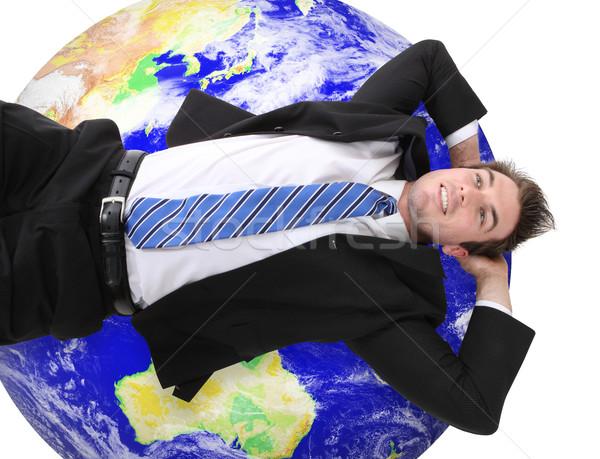 Globális üzlet férfi jóképű fiatal üzletember pihen Stock fotó © nruboc