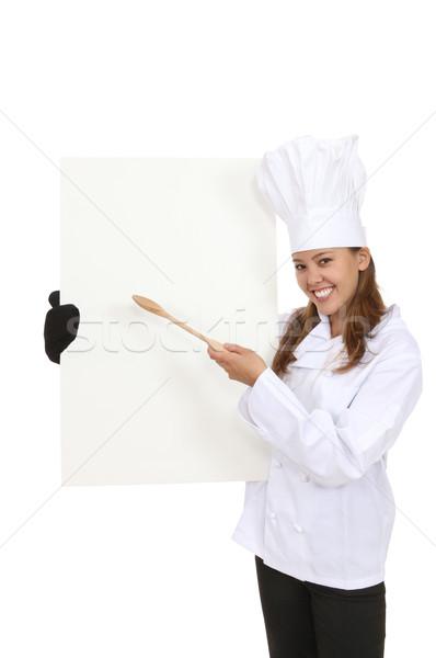 Dość kucharz menu pretty woman odizolowany Zdjęcia stock © nruboc
