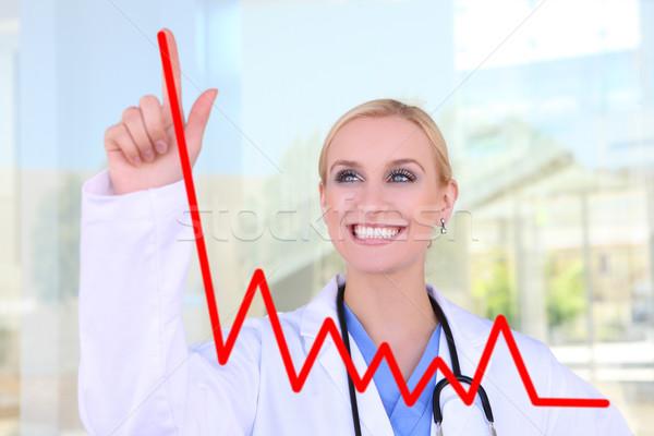 Mooie verpleegkundige tekening grafiek jonge ziekenhuis Stockfoto © nruboc