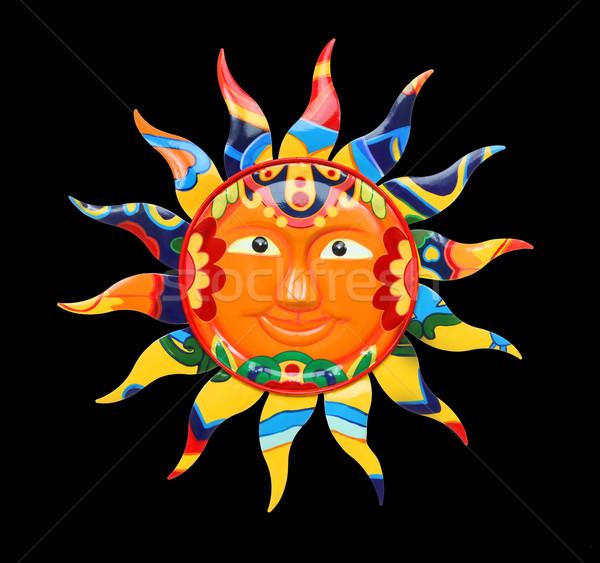 Lebendige farbenreich Sonne abstrakten isoliert schwarz Stock foto © nruboc