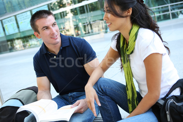 Attractive Couple at School Library Stock photo © nruboc