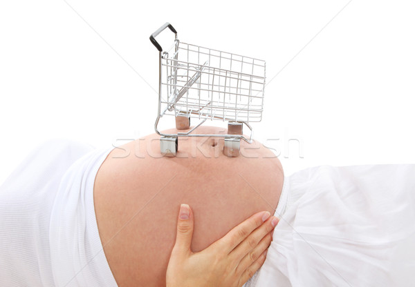 Femme enceinte Shopping faible panier estomac main Photo stock © nruboc