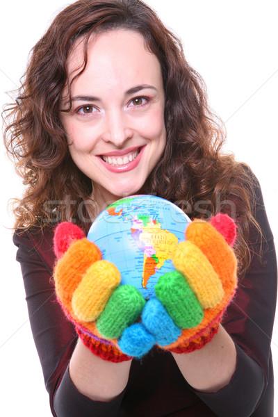 Frau halten Welt Regenbogen Handschuhe jungen Stock foto © nruboc
