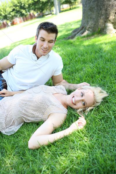 Anziehend Paar Liebe ziemlich blonde Frau schöner Mann Stock foto © nruboc