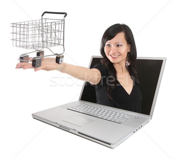 Asian femme achats en ligne joli panier sur Photo stock © nruboc