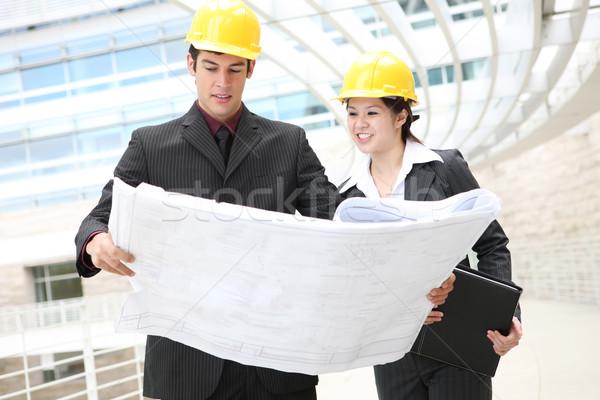 Foto stock: Homem · mulher · atraente · edifício · negócio