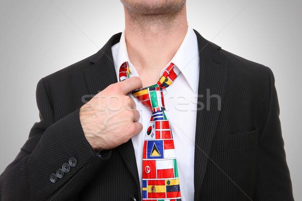 Mann Flagge Krawatte Geschäftsmann internationalen global Stock foto © nruboc