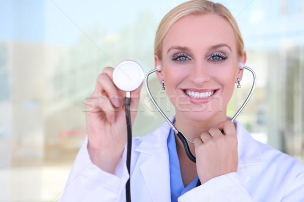 pretty blonde nurse at hospital stock photo stephen coburn nruboc