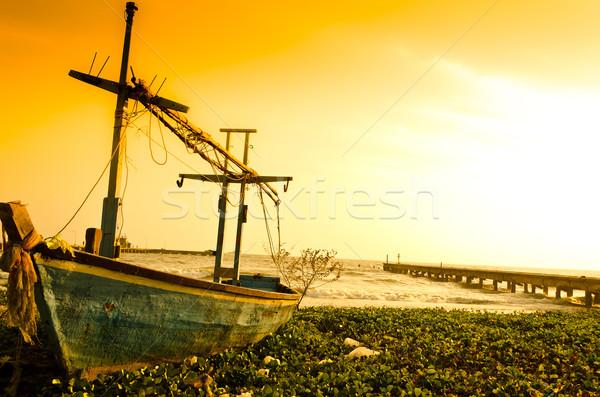 Old blue fishing boat struck on beach Stock photo © nuiiko