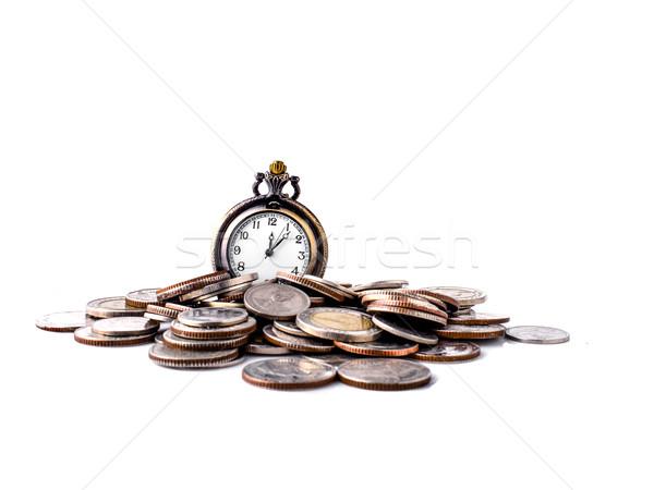 Tijd is geld munten oude selectief selectieve aandacht textuur Stockfoto © nuiiko