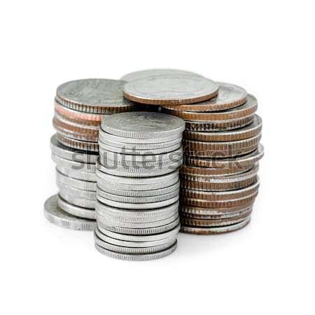 コイン スタック 白 選択フォーカス 背景 金属 ストックフォト © nuiiko