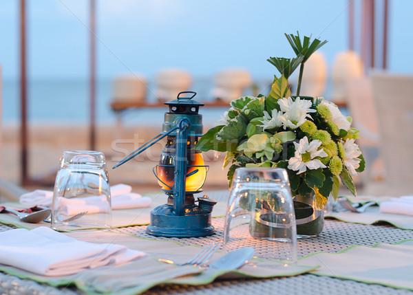 Romantische ingesteld omhoog tafel vintage voedsel Stockfoto © nuiiko