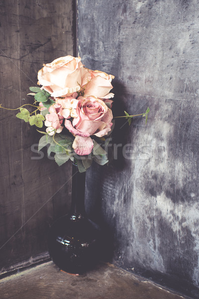 bouquet of roses at the corner with vintage filtered. Stock photo © nuiiko