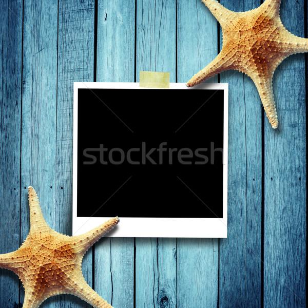 ストックフォト: 星 · 魚 · 写真 · 木製 · 紙 · 木材