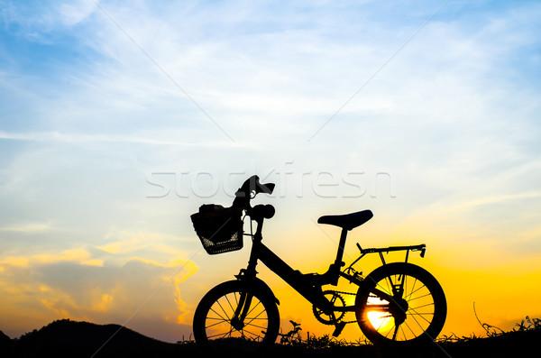 自転車 シルエット 太陽 セット 風景 夏 ストックフォト © nuiiko