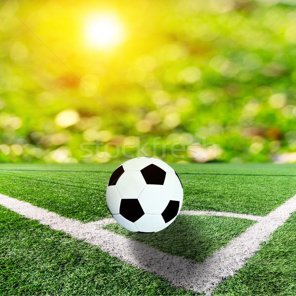 Labda futballpálya narancs bokeh nap fellobbanás Stock fotó © nuiiko