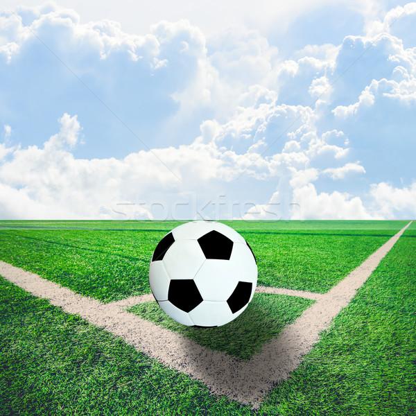 ボール サッカー コーナー 青空 テクスチャ ストックフォト © nuiiko