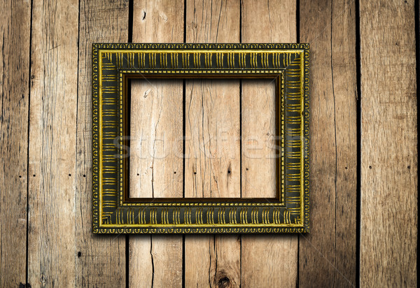 Oude fotolijstje vintage hout muur achtergrond Stockfoto © nuiiko