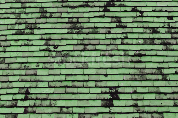 Green tiled roof for background usage Stock photo © nuiiko