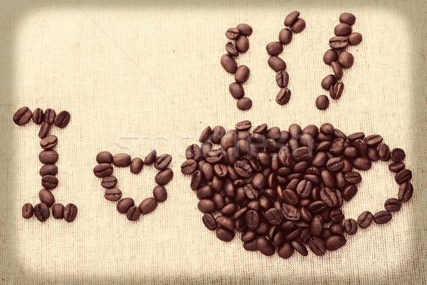 Koffiekopje rook vorm koffiebonen bruin weefsel Stockfoto © nuiiko