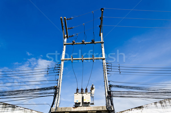 electricity post with blue sky Stock photo © nuiiko