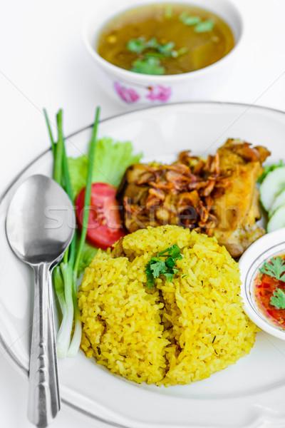 Geel rijst schotel gezondheid kip Stockfoto © nuiiko