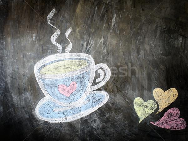 Schets krijt beker koffie thee cement Stockfoto © nuiiko