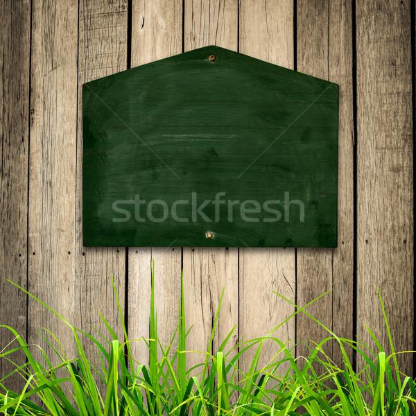 黒板 緑の草 木製 ビジネス 壁 スペース ストックフォト © nuiiko