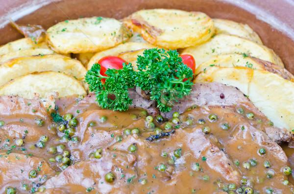 グルメ 焼き ステーキ プレート 緑 ディナー ストックフォト © nuiiko