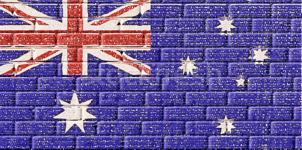 Australia flag in brick textured Stock photo © nuiiko