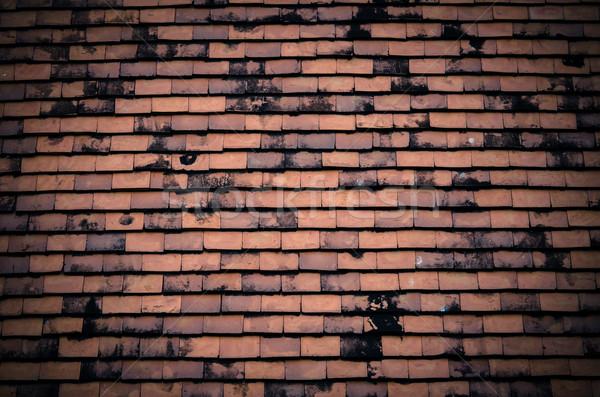 Zwarte betegelde dak textuur bouw home Stockfoto © nuiiko