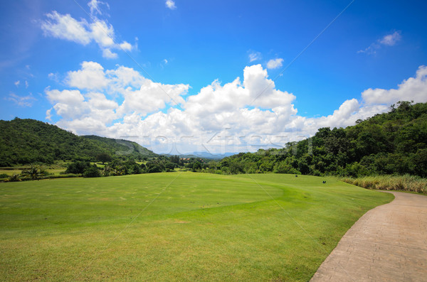 Photo stock: Golf · ciel · bleu · plage · arbre · nuages · golf