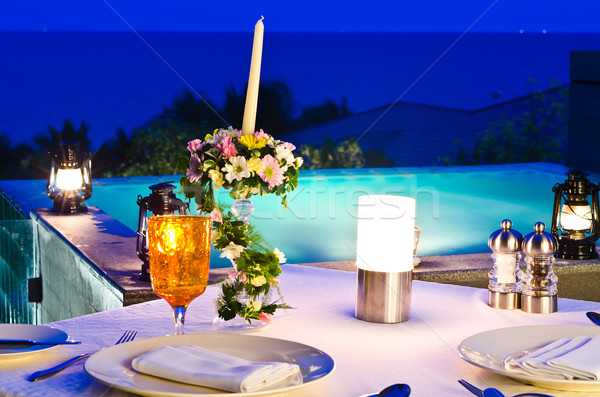 romantic dinner with jaccuzi,night view Stock photo © nuiiko